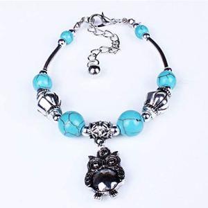 EdBerk74 Bracelet Hibou de Style Ethnique Turquoise