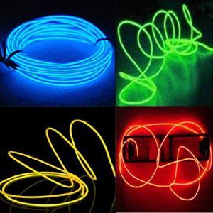 El Wire, 5M Lot de 4 fil Néon Flexible Neon USB LED Lumière (Bleu, Vert, Rouge, Jaune)
