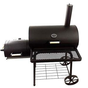 JOM Barbecue, Grill, Smoker, fumoir Noire 22 x 133 x 66 cm , grillade 66 x 41 cm, couvercles avec poignée, 2 roues Métallique