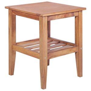 mewmewcat Table D'extérieur Table Basse Table d'extérieur pour Jardin Patio ou Salon 40 x 40 x 50 cm (L x l x H) Carrée Teck Solide