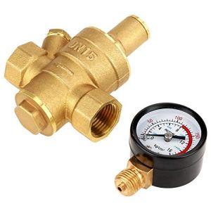 Régulateur De Pression D'eau – Réducteur Ajustable Avec Soupape De Régulation De Pression D'eau En Laiton BiuZi DN15 Avec Jauge