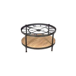 Table basse avec pendule en métal noir Chrono