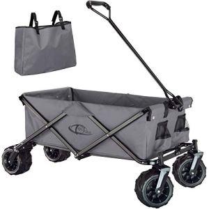 TecTake 800576 Chariot de Jardin Tout-Terrain, Max 80 kg, Pliable en Un Seul Geste – diverses Couleurs – (Gris | n° 402910)