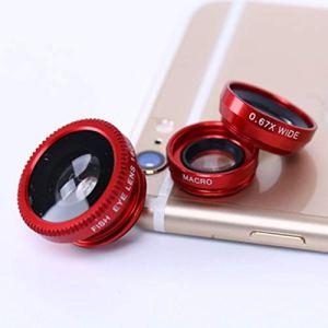 Zinniaya Kit de lentilles de caméra pour téléphone Portable Fish Eye Lens + Lentille Macro 3 en 1 et lentille Super Grand Angle