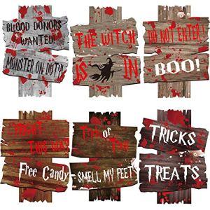 Sayala 6pièces Halloween Corrugate Piquet de Yard Signs pour Halloween Décorations d'intérieur/extérieur Trick ou Traiter, Halloween