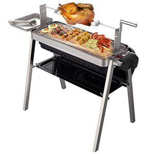YAOZEDI-ElectricGrills Barbecue à Chariot Portable à Charbon de Bois Barbecue intérieur et extérieur en Acier Inoxydable Noir – Easy Clean 2200W