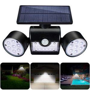 GIANTARM Lampe Solaire Extérieur, Appliques Solaires Extérieures Avec 30 Projecteurs à LED à Double Tête Etanches, Rotation à 360 Degrés, Avec Détecteur de Mouvement Pour le Jardin