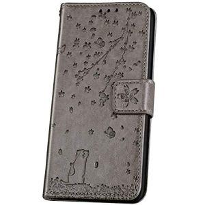 JAWSEU Compatible avec Xiaomi Redmi Note 7 Coque Portefeuille Cuir à Rabat Étui Housse Premium PU Magnétique Élégant Beau Chat Fleur de Cerisier Slim Leather Flip Wallet Case Etui,Gris