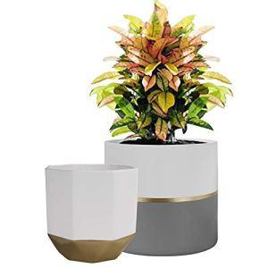 La Jolíe Muse Pots de Fleurs en Céramique Pots de Plantes Intérieur & Extérieur Maison Décor Bureau Jardinière Salon Pack de 2 Forme Élégant Pot Rond & Pot Octogonal
