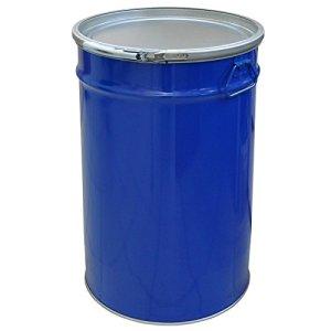 Tonneau, baril, fût métallique bleu 60 Lavec couvercle et anneau de serrage (23021)