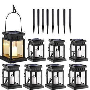 ZijianZZJ Lot de 8 lanternes solaires à suspendre, effet bougie avec piquet pour jardin, patio, pelouse, cour