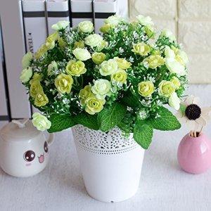 1bouquet de roses artificielles colorées réalistes Livecity pour la décoration du salon, Tissu de soie, blanc, Taille unique