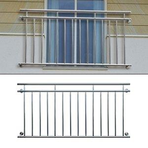 ECD Germany Balcon Français avec Barres Transversales Balcon en Acier Inoxydable 128x90cm
