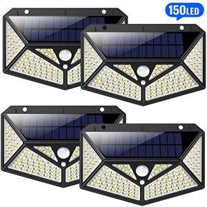 HETP Lampe Solaire Extérieur 4 Pack [Éclairage Omnidirectionnel à Six Côtés] 150 led lampe avec Détecteur de Mouvement Spot Solaire sans Fil Lumière Sécurité Étanche Éclairage Solaire pour Jardin