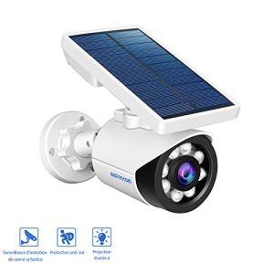 Lampe Solaire Extérieur, Capteur de Mouvement,5-Watts LED Projecteur Solaire sans fil Intelligent avec IP66 Etanche,Détection de Mouvement,Charge de Panneau Solaire