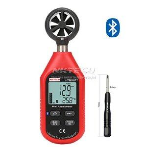 Nktech Ut363bt Bluetooth Digital anémomètre Jauge de vitesse du vent Température Mètre Max/min météo de collecte de données pour l'extérieur windsurf Sailing ou Naviguer sur la pêche avec