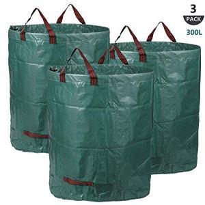 Sacs de Jardin 3x300L, Sacs à Déchets de Jardin Résistants, étanche Heavy Duty Grande Sacs avec Poignées, Pliable et Réutilisable