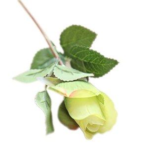 Swiduuk 1pièce Mode artificiel Faux Rose Fleur en soie pour mariage Banquet fête romantique Home Decor, Soie, Green, Taille unique