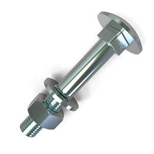 20 x Boulons M8 x 70 tête ronde collet carré Vis TRCC avec Écrou et Rondelle Longueurs 20-200mm choix: 20x M8x70