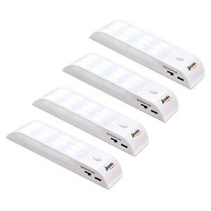 4 Pack Lampe Automatique, AMANKA Lampes LED à Détecteur de Mouvement, Lampe de Placard, Charge-Powered LED Night Light, pour Escalier, Armoires, Placards, Alimenté, Facilité d'installation