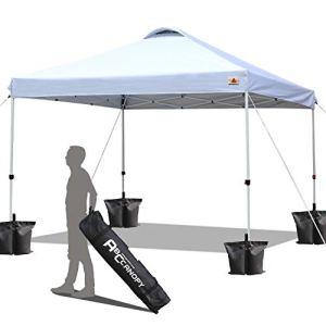 ABCCANOPY Tonnelle Tente Gazebo Pavillon de Jardin 3×3 'Easy Pop-up' Auvent Portable Ombre instantanée Se Pliant Meilleure Circulation de l'air-Bonification Sac à roulettes et 4 Sacs de Poids(Blanc)
