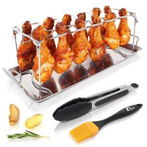 Amazy Support pour cuisses de poulet avec brosse barbecue + pince à friture – Support à volaille en inox de qualité pour des cuisses de poulet bien cuites au four ou au gril