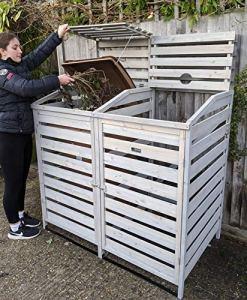 BinGarden Poubelle Double en Bois Peint Gris argenté avec Toit pour 2 poubelles à roulettes jusqu'à 240 litres ou 65 gallons