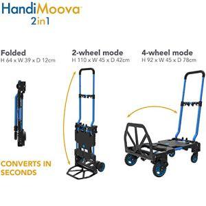 Chariot pliable HandiMoova 2 en 1 ; se transforme en quelques secondes du chariot de 135 kg sur roues en chariot de 70 kg.