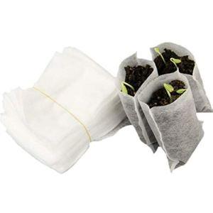 Garciaria 100PCS / Sac Biodégradable Graines Pépinière Sacs Pépinière Pots De Fleurs Transplantation De Légumes Pots D'élevage Jardin Plantation Sac (Couleur: Blanc)