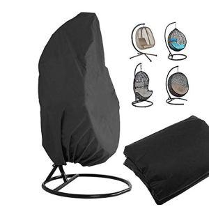 Housse de Fauteuil Suspendu , le support de chaise pivotante pour oeuf en rotin extérieur recouvre le protecteur de meubles de jardin Veranda résistant à l'eau et à la poussière – 190 X115cm, noir