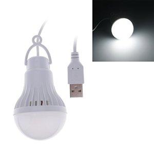 HuntGold Blanc 3W/5W Safe LED portable USB ampoule à haute puissance d'économie d'énergie ampoules, Lumière blanche, 3W