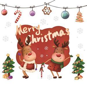 Junjie De Noël DIY Décoration De Noël Sticker Mural en Verre Wall Sticker Home Decor Santa Claus Charme Boutique Fenêtre en Verre Porte Décorative Wall Sticker Adhésif