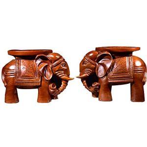 La mode Sculpture ronde animal Sculpture sur bois Elephant Tabouret en bois massif chaussures Changement Tabouret Salon Artisanat Salle 2Pcs (Couleur : Marron, Taille : 50x25x35cm)