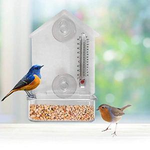 Mangeoire À Oiseaux Pour L'extérieur Avec Thermomètre, Acrylique Transparent Voir Oiseaux Sauvages, 2 Ventouses Solides Pour La Fixation