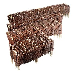 Nature LOUNGE Bordure en osier pour plate-bande Pour plate-bande ou délimitation de jardin Plusieurs tailles 20 x 120 cm 10er Set naturel