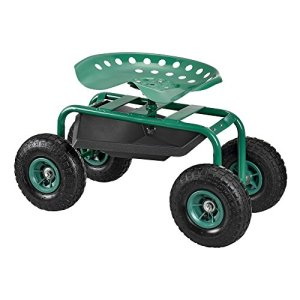[pro.tec] Locomobile siège de jardin scooter siège coulissant [vert] chariot