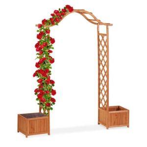 Relaxdays Jardinière pergola, Treillis Plante grimpante Bois 2 bacs à Fleurs, 209 x 181 x 60 cm, Orange
