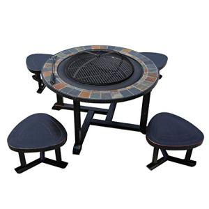 RKY Barbecue Grill – Table et chaise de barbecue en plein air Ménage Grill à charbon de bois Grill Jardin Jardin Aire de jeux en plein air Table de loisirs et chaise en aluminium moulé / – /