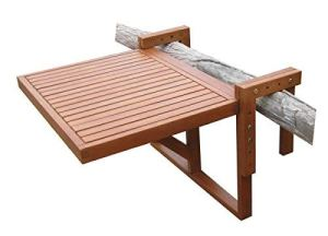 Spetebo Table Pliante en Eucalyptus Table de Balcon–60x 45cm–Bois Table Suspendue pour Balcon Pliable