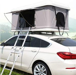Tente de Toit d'automobile de Tente de Toit d'automobile de Tente de Toit de Tente de 2-3 Adultes, Coque Blanche + Tente Grise