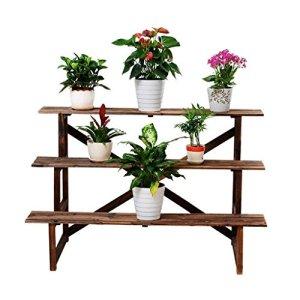 TXC- Support de Fleur en Bois Massif Support de Plante Support de Fleur pour Balcon intérieur Support de Sol en multiplis Support de Fleur en Trois Dimensions Durable (Color : A)