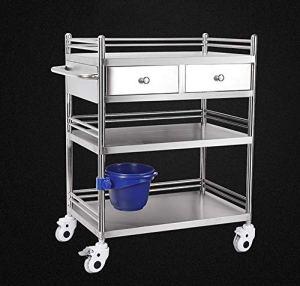 WILL Le Chariot médical de beauté d'acier Inoxydable, la Voiture de Traitement de Chariot d'outil avec tirent 3 étagères 304 épaississent la poulie multifonctionnelle de Frein