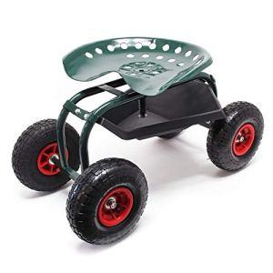 WilTec Siège de Jardin sur Larges Roues Charge 150kg Max. Chariot Coulissant Jardinage Repose-Genoux Outil