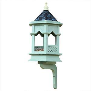 WJQSD Nourrisseurs Gothiques Classiques De Station De Nourriture D'oiseau, Paysage De Jardinage De Tableau De Alimentation Antipluies De Pavillon D'oiseau Plateau à Oiseaux