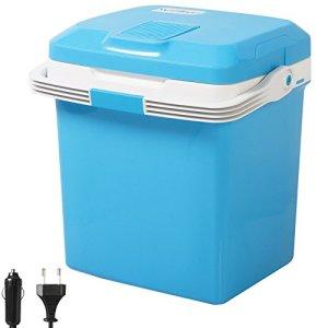 WOLTU KUE001bl Glacière électrique Mini Réfrigérateur 26L Isotherme Chaud/Froid, 12V et 230V pour Voiture et Camping [Classe énergétique A ++],Bleu