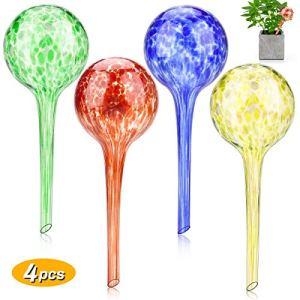 Zwini Globes d'arrosage Plantes Ampoules en Verre Aqua décoratif Globes d'eau Plante Arrosoir Dispositif d'arrosage Automatique Système d'arrosage des fêtes Arrosoirs de Pots de Jardin Ensemble de 4
