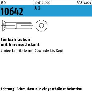 25 Innensechskant Senkkopfschrauben ISO 10642 A2 M 12 x 130 V2A Niro Edelstahl