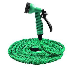 25FT-100FT Jardin Tuyau Extensible Magique Flexible Tuyau d'eau en Plastique Tuyaux UE Tuyau for tuyaux, avec Pistolet à l'arrosage (Color : Green, Lengh : 25ft)
