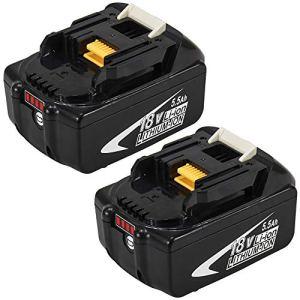 2X BL1860B 5.5Ah Remplacement Batterie pour Makita 18V Lithium BL1860 BL1850B BL1850 BL1840 BL1830 LXT-400 avec indicateur à LED Outil sans fil