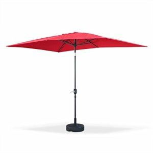 Alice's Garden – Parasol droit rectangulaire 2x3m – Touquet Rouge – mât central en aluminium orientable et manivelle d'ouverture